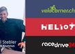 Portrait von Ciril Stebler und die Logos von velocorner.ch, Heliot Europe und racedrive24